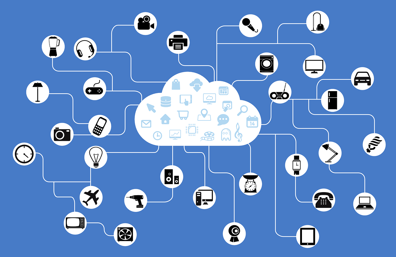 Diagram of a cloud and network of interconnected devices.