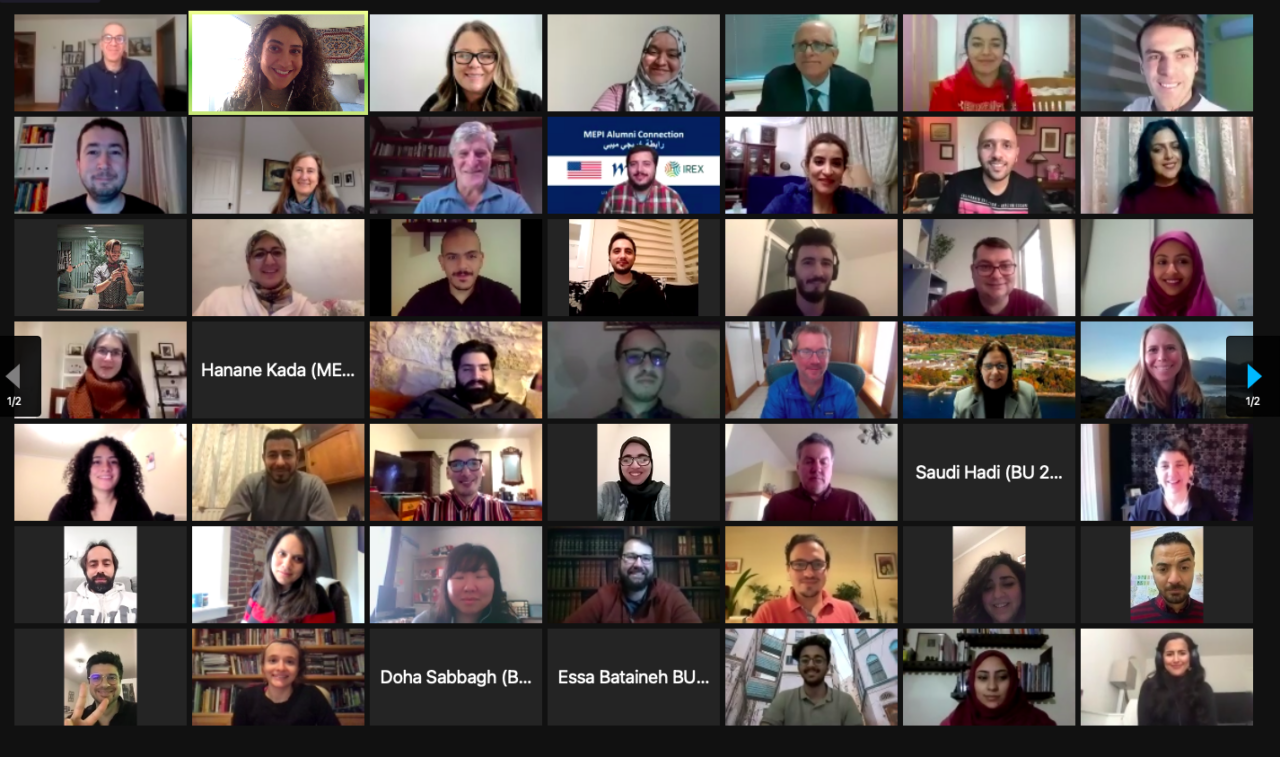 Zoom virtual meeting with a mosaic image of the faces of individual participants